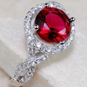 2CT Natural Ruby & White Topaz 925 Silver Ring 8